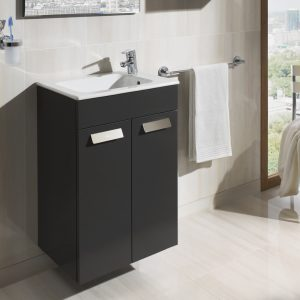 Roca Debba Compact 505mm Wall Mounted Door Unit & Rectangular Basin In Three Colours