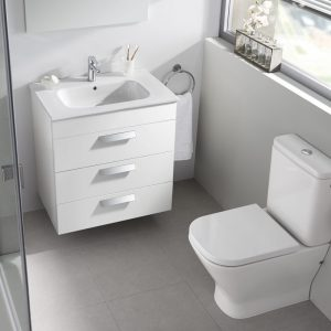 Roca Debba Standard 600mm Wall Mounted Three Drawer Unit & Rectangular Basin In Three Colours