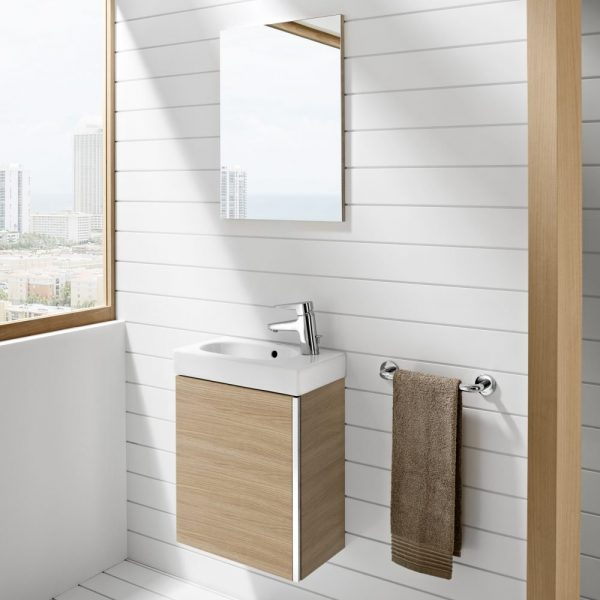 Roca 450mm Mini Set, Wall Mounted Vanity unit, Compact Basin & Free Mirror In Three Colours