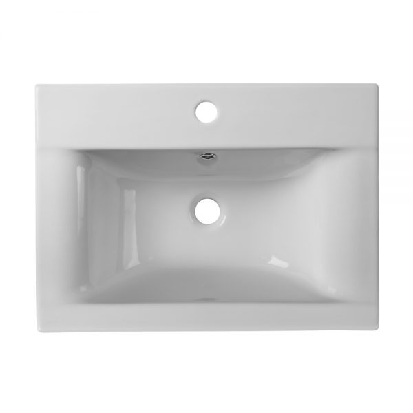 Alp 600mm Wall Mounted Draw Unit With Rectangular basin In White