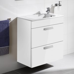 Roca Debba Compact 505mm Wall Mounted Drawer Unit & Rectangular Basin In Three Colours