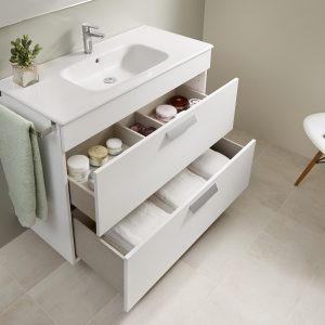 Roca Debba Standard 800mm Wall Mounted Two Drawer Unit & Rectangular Basin In Three Colours