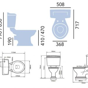 Dorchester Close Coupled Toilet & Ceramic Lever spec