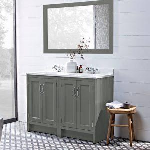Hampton 1200mm Vanity Unit, Basin & Arctic Top, In Six Colours