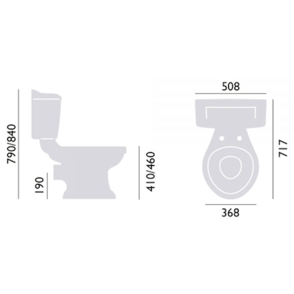 Heritage Dorchester Close Coupled Toilet with Ceramic Lever size