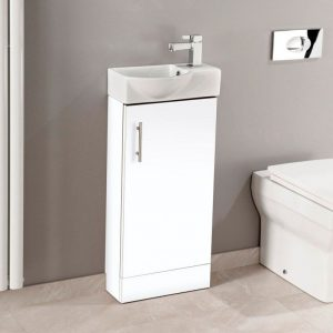 Main 400mm Floor Standing Compact Vanity Unit & Basin In White