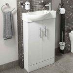 Main 500mm Floor Standing Slim Vanity Unit & Basin In White Lifestyle