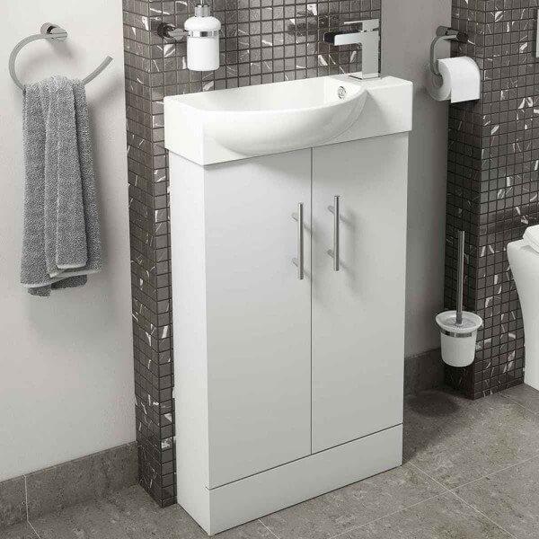 Main 500mm Floor Standing Slim Vanity Unit & Basin In White