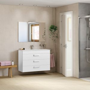 Roca Debba Standard 800mm Wall Mounted Three Drawer Unit & Basin In Two Colours