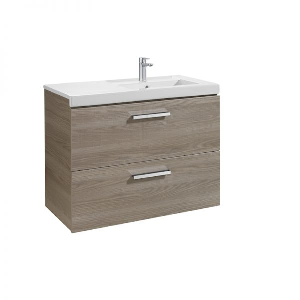 Roca Prisma 900mm Wall Mounted Two Drawer Unit & Basin OAK RH