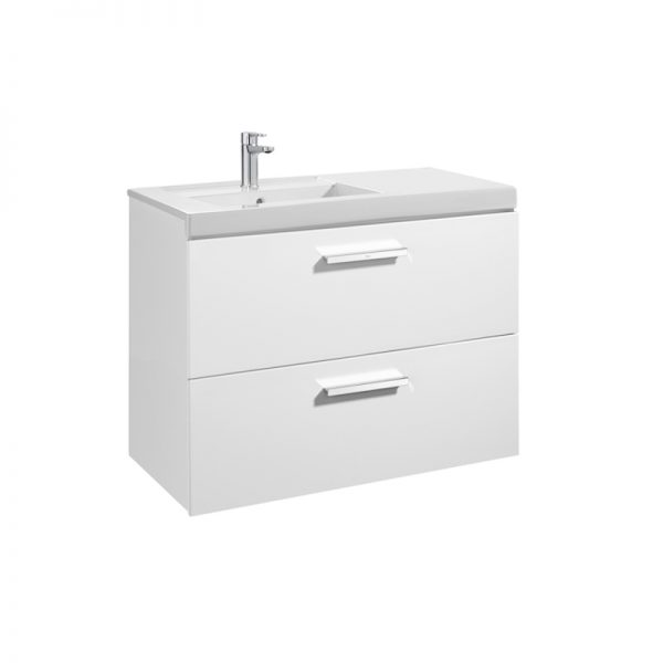Roca Prisma 900mm Wall Mounted Two Drawer Unit & Basin In Four Colours
