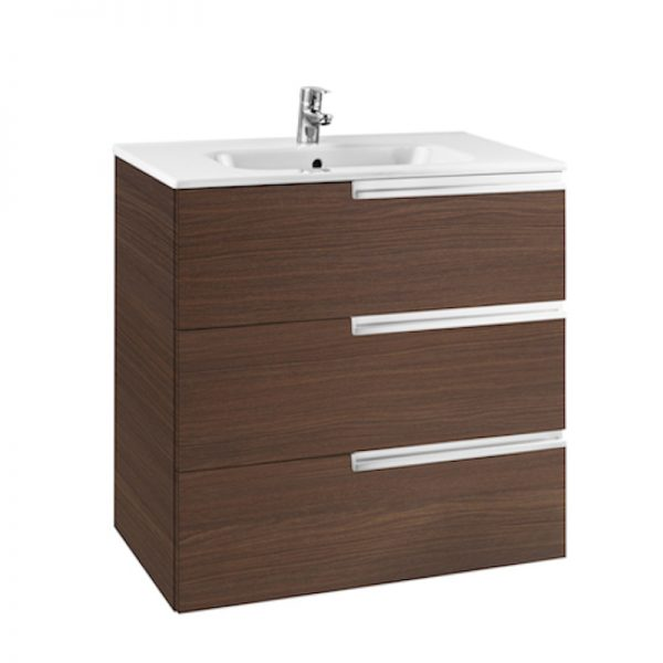 Roca Victorian-N 600mm Wall Mounted Three Drawer Unit & Basin In Four Colours