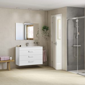 Roca Debba Standard 800mm Wall Mounted Three Drawer Unit & Rectangular Basin In Three Colours