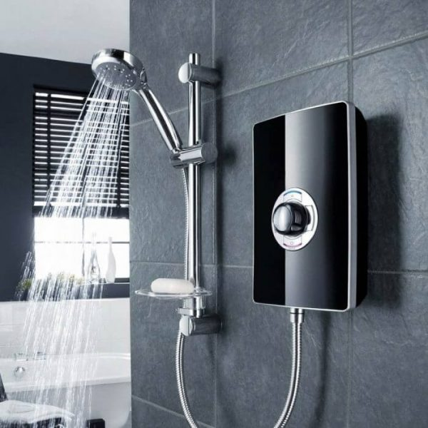 Triton Aspirante Electric Shower In Black Gloss 8.5 & 9.5 kw