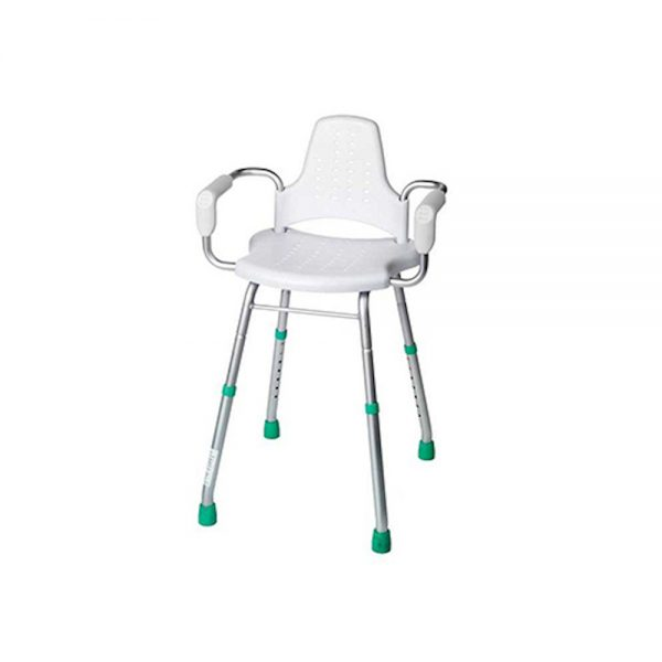 Adjustable Height Care Shower Seat With Arm Rest Supports