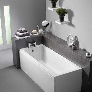 Pura Bloque Bath Single Ended Puracast 1300, 1400, 1500, 1600, 1700x700mm In White