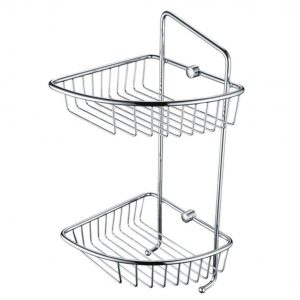 Bristan Two Tier Wall Fixed Wire Basket In Chrome