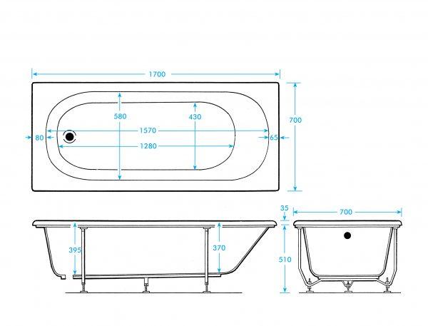 Casper Bath Single Ended 5mm 1500, 1600, 1700x700mm In White