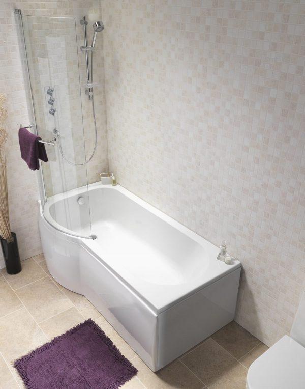Estelle P Shaped Shower Bath Pack 5mm 1500x750mm In White
