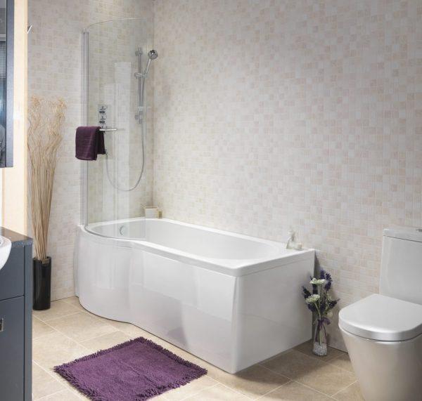 Pura Estelle P Shaped Shower Bath Pack 5mm 1675x750mm In White