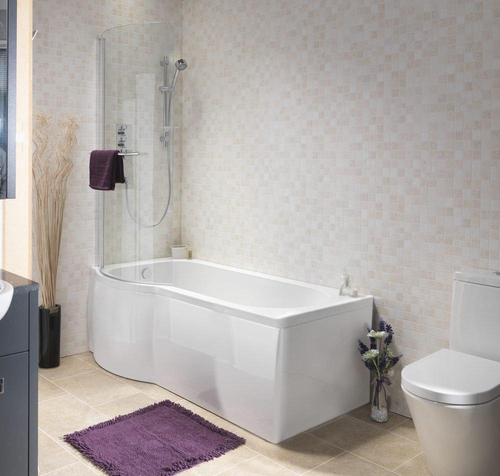 Estelle P Shaped Shower Bath Pack 5mm 1675x750mm In White