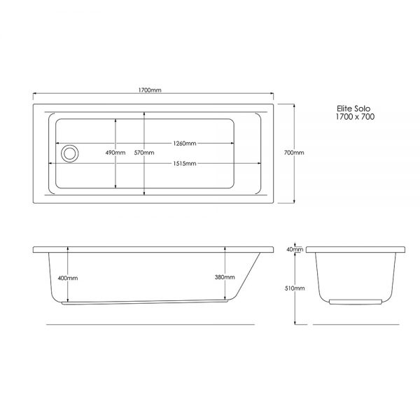 Edge Bath Double Ended 5mm 1700x700mm In White