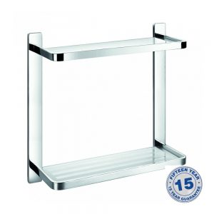 Flova Sofija Double Glass Shelf 325mm In Chrome