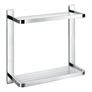 Flova Sofija Double Glass Shelf 325mm In Chrome