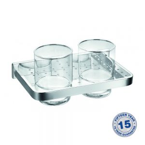 Flova Sofija Double Glass Tumbler & Holder In Chrome
