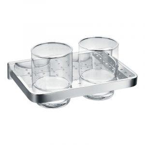 Flova Sofija Double Glass Tumbler & Holder In Chrome