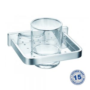 Flova Sofija Single Glass Tumbler & Holder In Chrome