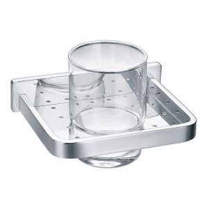 Flova Sofija Single Glass Tumbler & Holder In Chrome