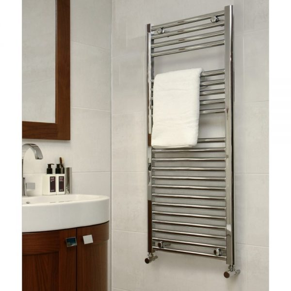 Towel Ladder Rail Deluxe Straight 25mm 600 Wide In Chrome - Available in Multiple Heights