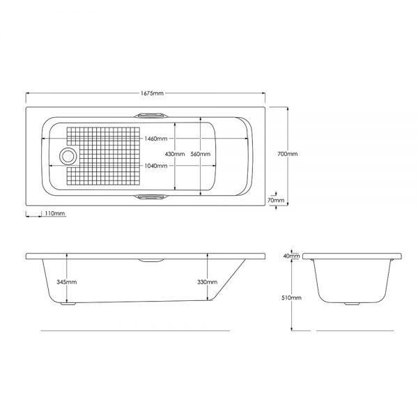 Granada Bath Single Ended Gripped 5mm 1500, 1675, 1700x700mm