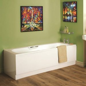 Granada Bath Single Ended Twin Gripped 8mm 1700x700mm In White
