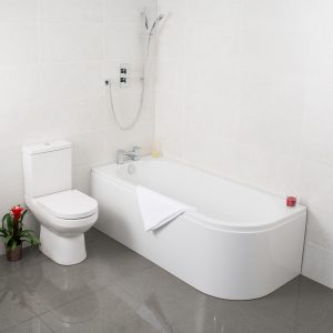 Pura Kiso Curved Ended Bath 5mm 1700x750mm In White
