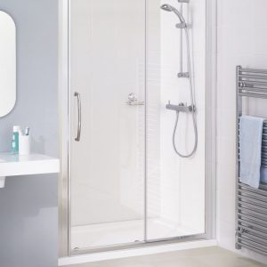 Lakes Classic Semi Framed Slider Door 6mm In Chrome 1000, 1100, 1200, 1400, 1500, 1600, 1700mm