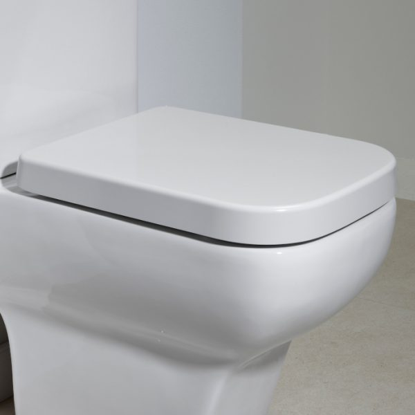 Linear Square Wrap Over Soft Close Toilet Seat In White