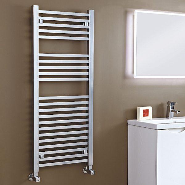 Loren Designer Towel Rail 500 Wide In Chrome Multiple Heights