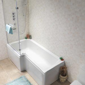 Pura Nicole L Shaped Shower Bath Pack 5mm 1500x700mm In White