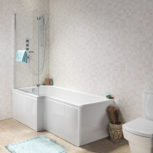 Nicole L Shaped Shower Bath Pack 5mm 1500x700mm In White