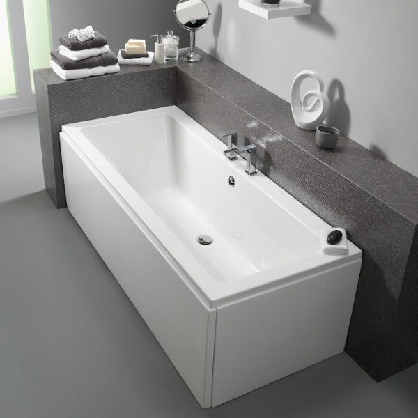 Pura Bloque Bath Double Ended Puracast 1800x800mm In White