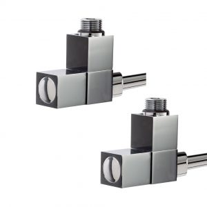 Square Straight Radiator Valves Cube 15mm in Chrome Pair