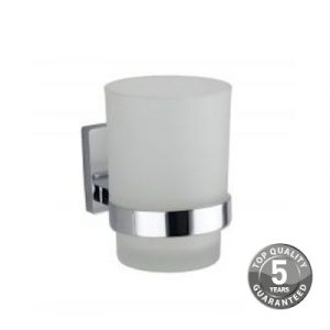 Resolve Glass Tumbler & Holder In Chrome
