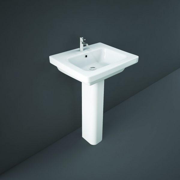 Resolve Basin & Full Pedestal 1 Tap Hole 500 or 550mm