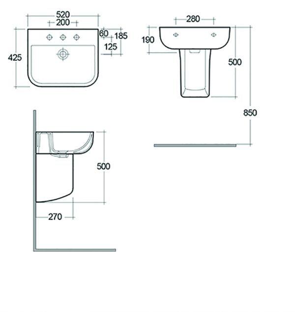 Serena Basin & Semi Pedestal 1 or 2 Tap Hole 520mm
