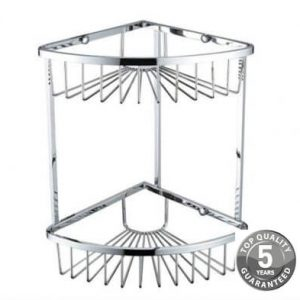 Simply Two Tier Corner Wall Fixed Wire Basket In Chrome