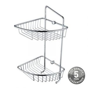 Simply Two Tier Wall Fixed Wire Basket In Chrome With Hook