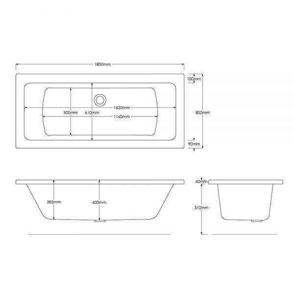 Solarna Bath Double Ended 5mm 1800x800mm In White