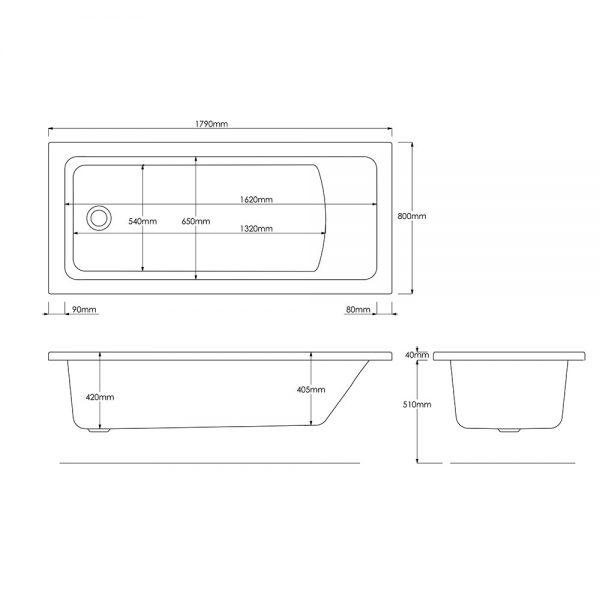 Trojan Solarna Bath Single Ended 5mm 1800x800mm In White
